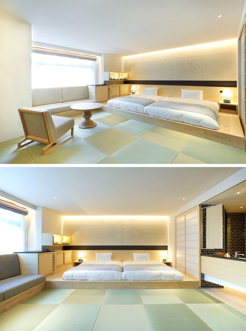 BEDROOM DESIGN IDEA - Place Your Bed On A Raised Platform // Raising the bed onto its own platform designates the sleeping area and separates it from the other areas of this open concept room.