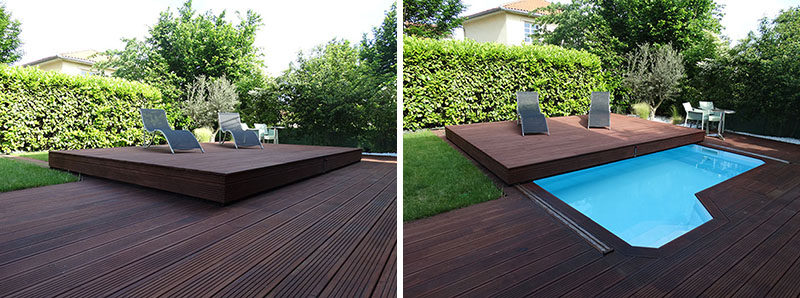 Deck Design Idea ? This Raised Wood Deck Is Actually A Sliding Pool Cover
