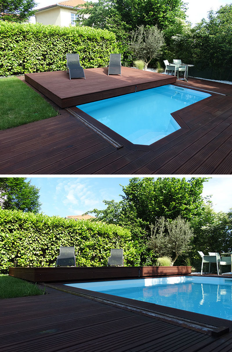 Deck Design Idea This Raised Wood Deck Is Actually A Sliding Pool Cover