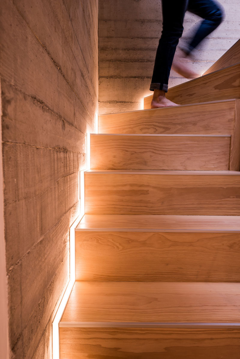 STAIR DESIGN IDEA - Include Hidden Lights To Guide You At Night And To Highlight The Design Of The Staircase