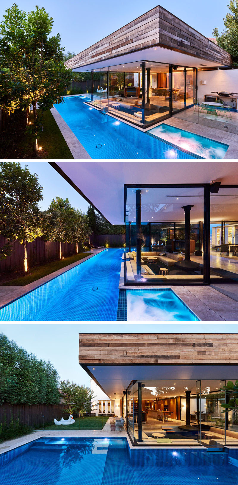 This Australian home features a small lap pool in the backyard and a sunken living room that sits at eye level with the pool.#SunkenLivingRoom #SwimmingPool #Fireplace #LivingRoom #Landscaping