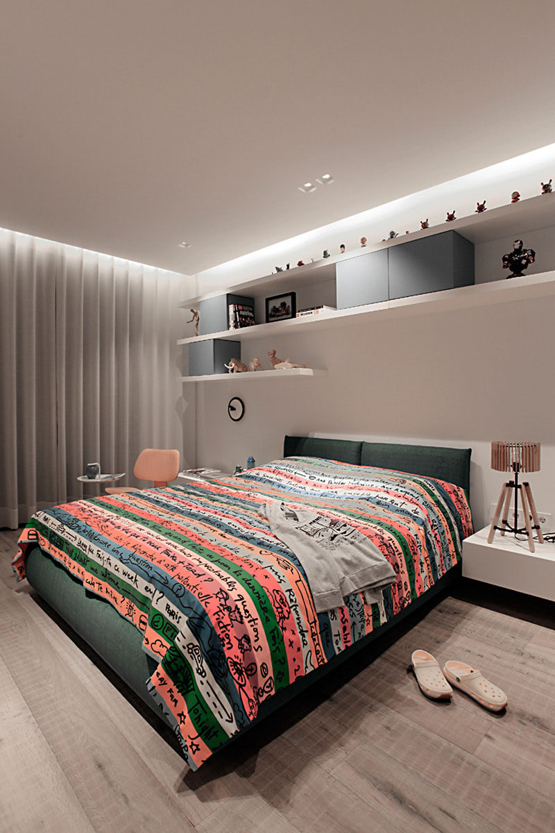 14 Inspirational Bedrooms For Teenagers // Sophisticated colors partnered with a fun duvet cover is a great way to create a room that can grow with a teen as their tastes change as they grow.