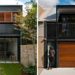 A bold black and wood exterior was given to this terrace house in Sydney