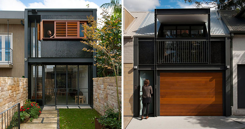 A bold black and wood exterior was given to this terrace for What is terrace house