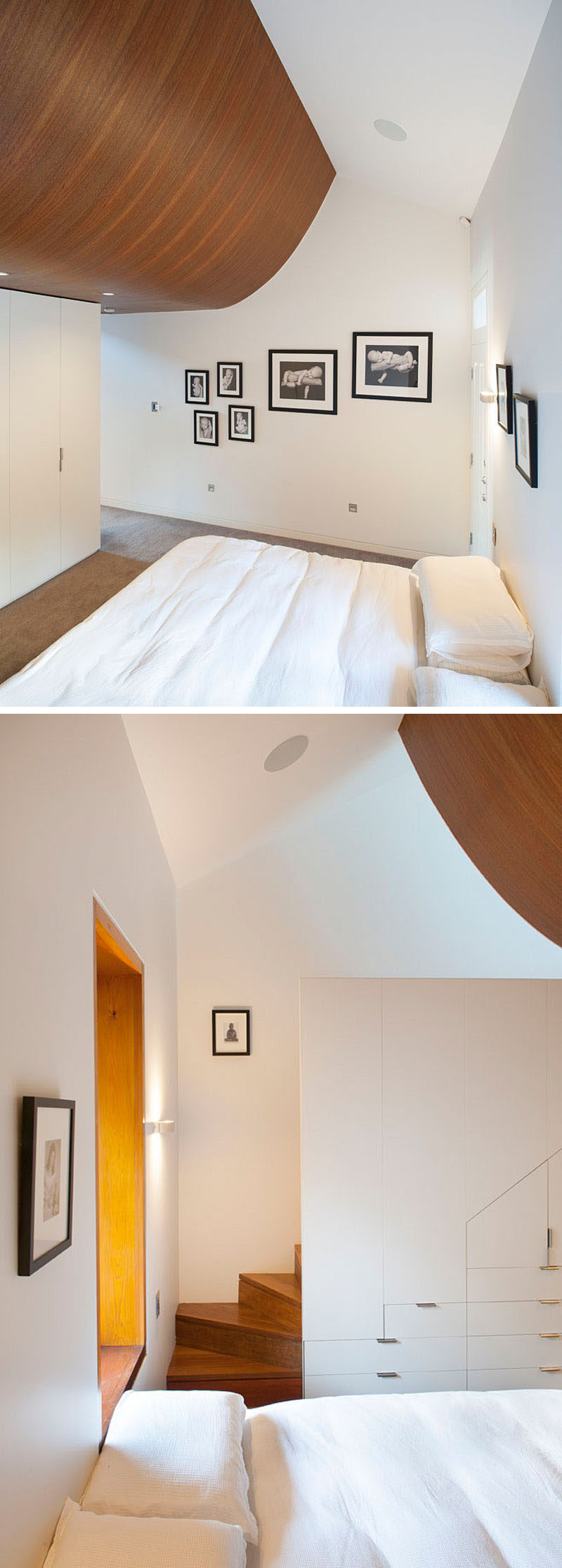 This bedroom has a curved wooden ceiling that contrasts the white walls.