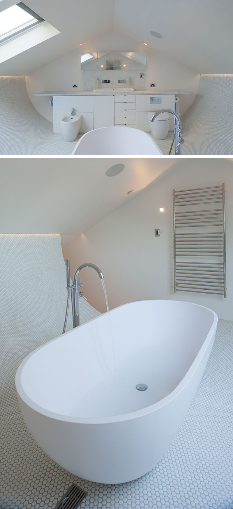 This all white attic has a curved tiled floor with hidden lighting, making the bath the focal point of the bathroom.