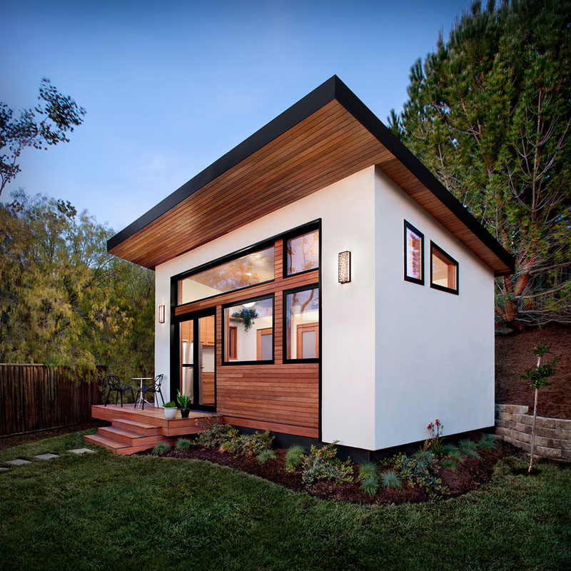 This contemporary 264 square foot guest house, designed by Avava Systems,  was pre-fabricated and brought to the client's property as just 64  flat-packed ...