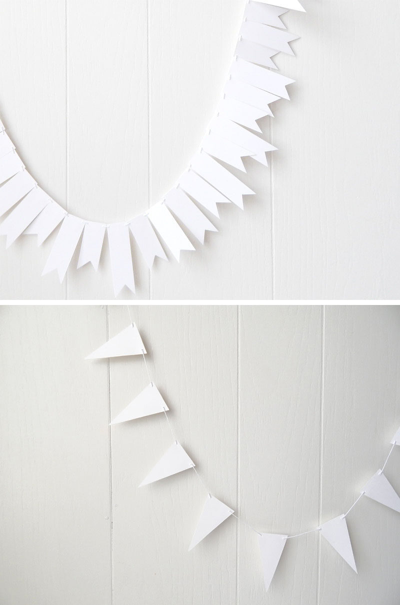 Throw An All White Party With These Ideas For Food And Decorations / A simple white paper garland is one way to dress up your walls.