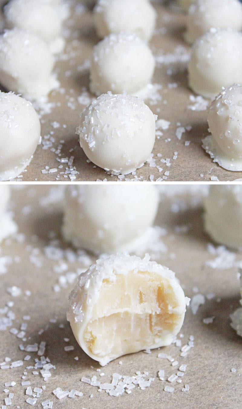 Throw An All White Party With These Ideas For Food And Decorations / White chocolate covered sugar cookie truffles are an easy snack that guests can pop in their mouths without having to worry about spilling food on their white clothes.