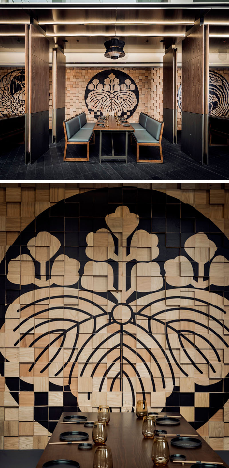 Wood Blocks Along The Back Wall Of This Restaurant Have Been Painted To  Create Beautiful Dark Designs That Still Keep The Wood Grains Visible.