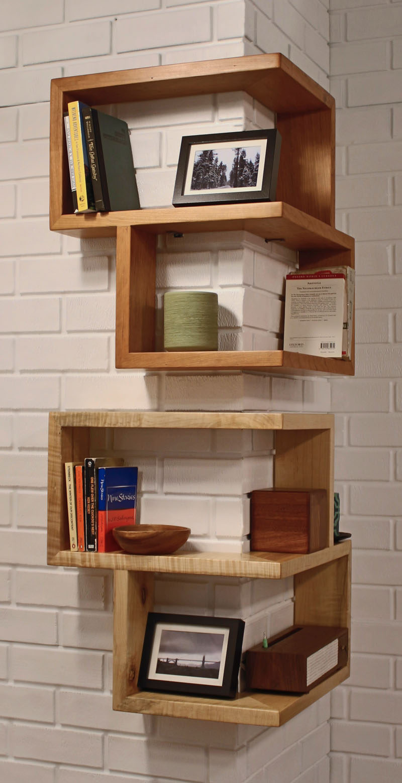 SHELVING IDEA - Shelves That Wrap Around Corners // These box shelves hug the corners of your walls and make awkward corners turn into functional storage and decor spaces.