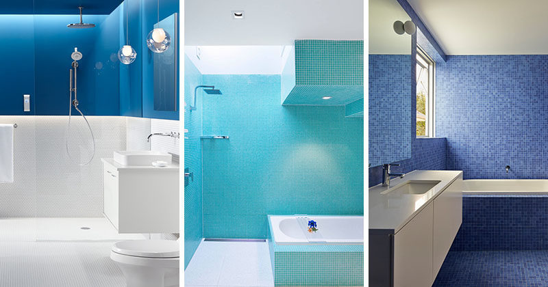 Lovely 13 Inspirational Examples Of Blue And White Bathrooms
