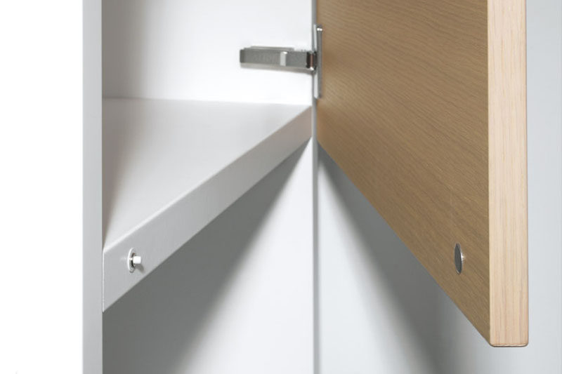 Kitchen Design Idea - Cabinet Hardware Alternatives // Touch-Open Cabinets -- Magnetic or mechanical touch latches make this futuristic action possible and make your kitchen look completely minimal. Without any grooves or hardware your cabinets disappear into the walls and keep your kitchen feeling clean and smooth.