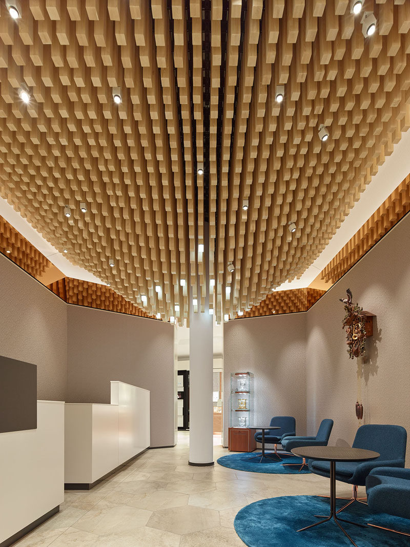 Modern Ceiling Design Idea 4362 Square Wooden Dowels Cover The Of This Watch Showroom