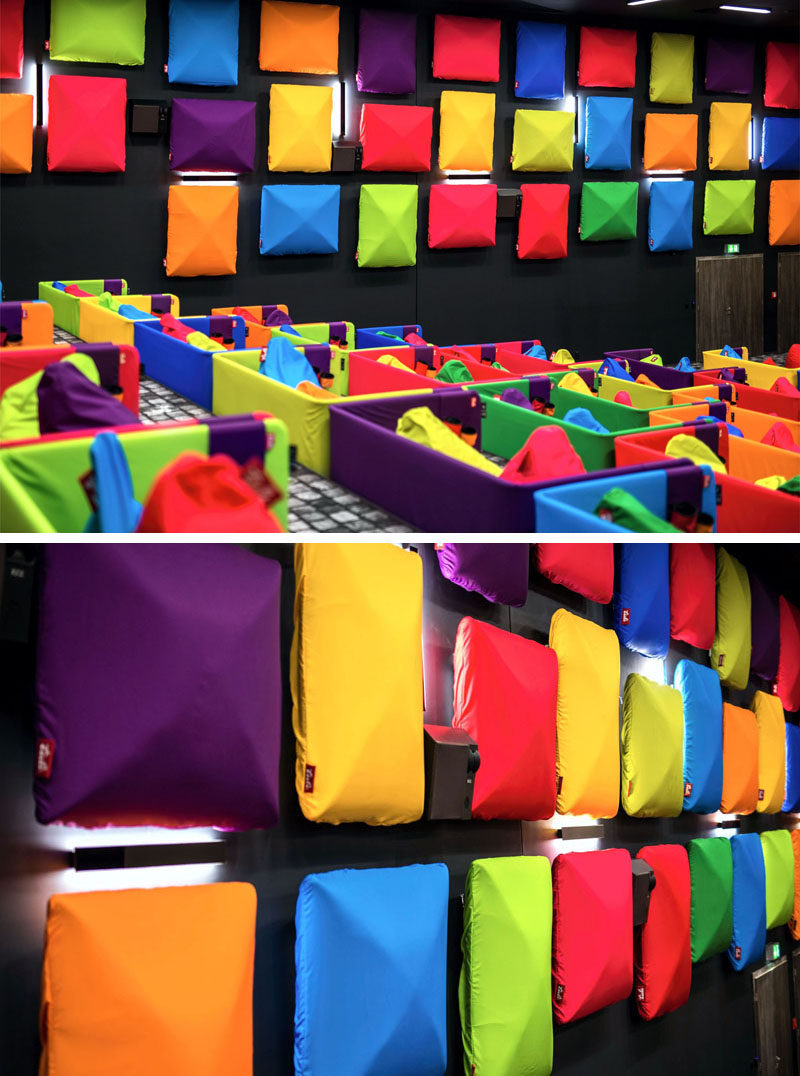 Colorful acoustic panels line the walls of this cinema
