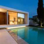A home office overlooking a swimming pool was designed for this house Spain