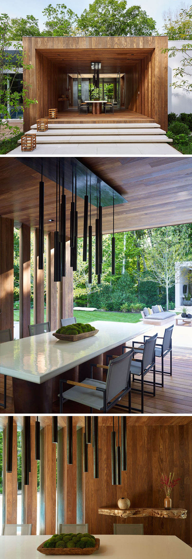 This home has a partially enclosed wooden outdoor area set up as a dining room, perfect for enjoying meals outside when the weather is nice.