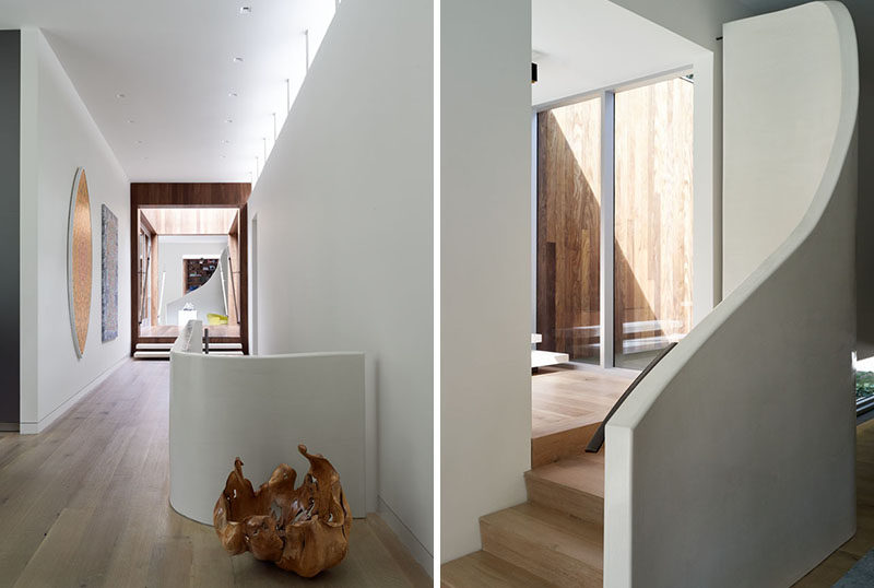 White and wood always make a good combination when creating contemporary stairs.