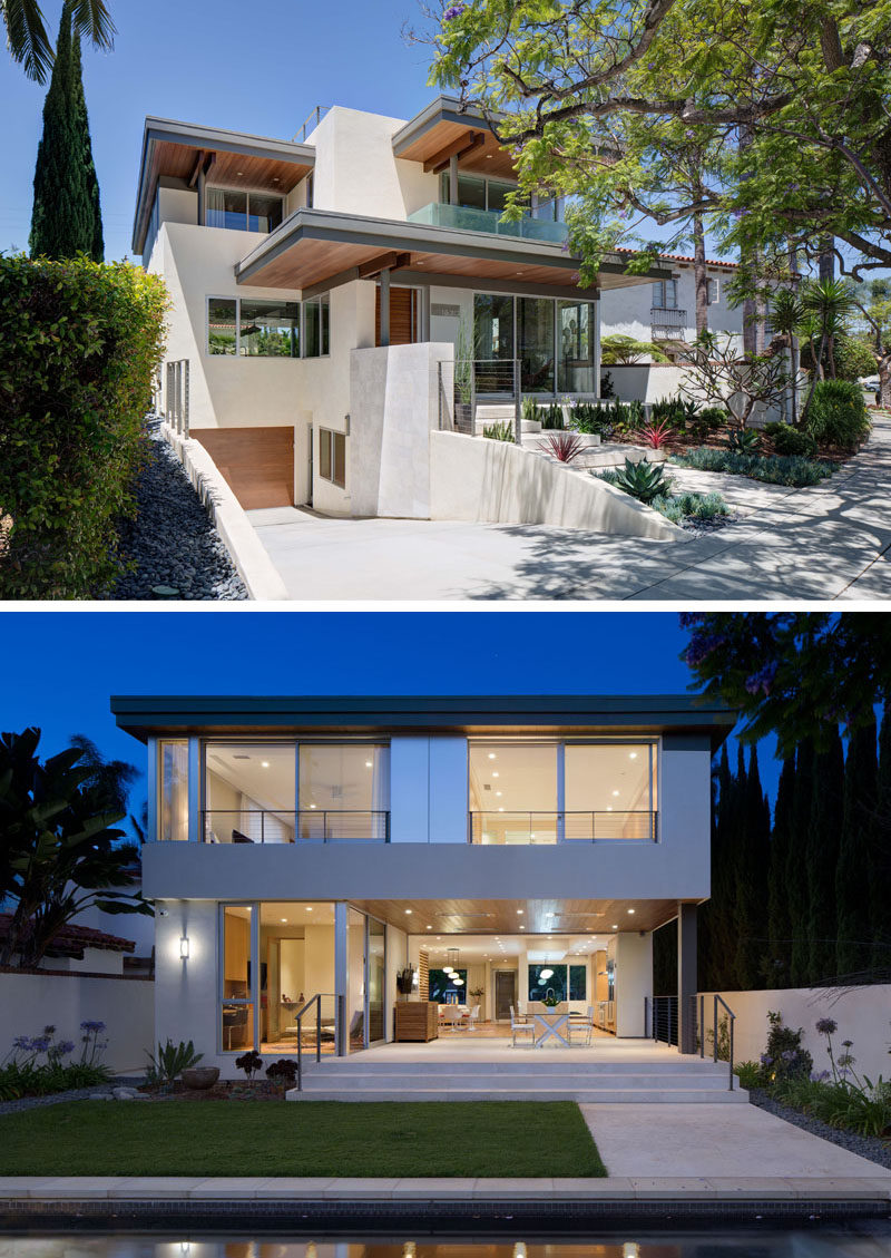 Located across the road from a small public park in Coronado, California, is this contemporary home designed by Christian Rice Architects, for a busy couple that wanted an open, airy, and bright place to relax in.