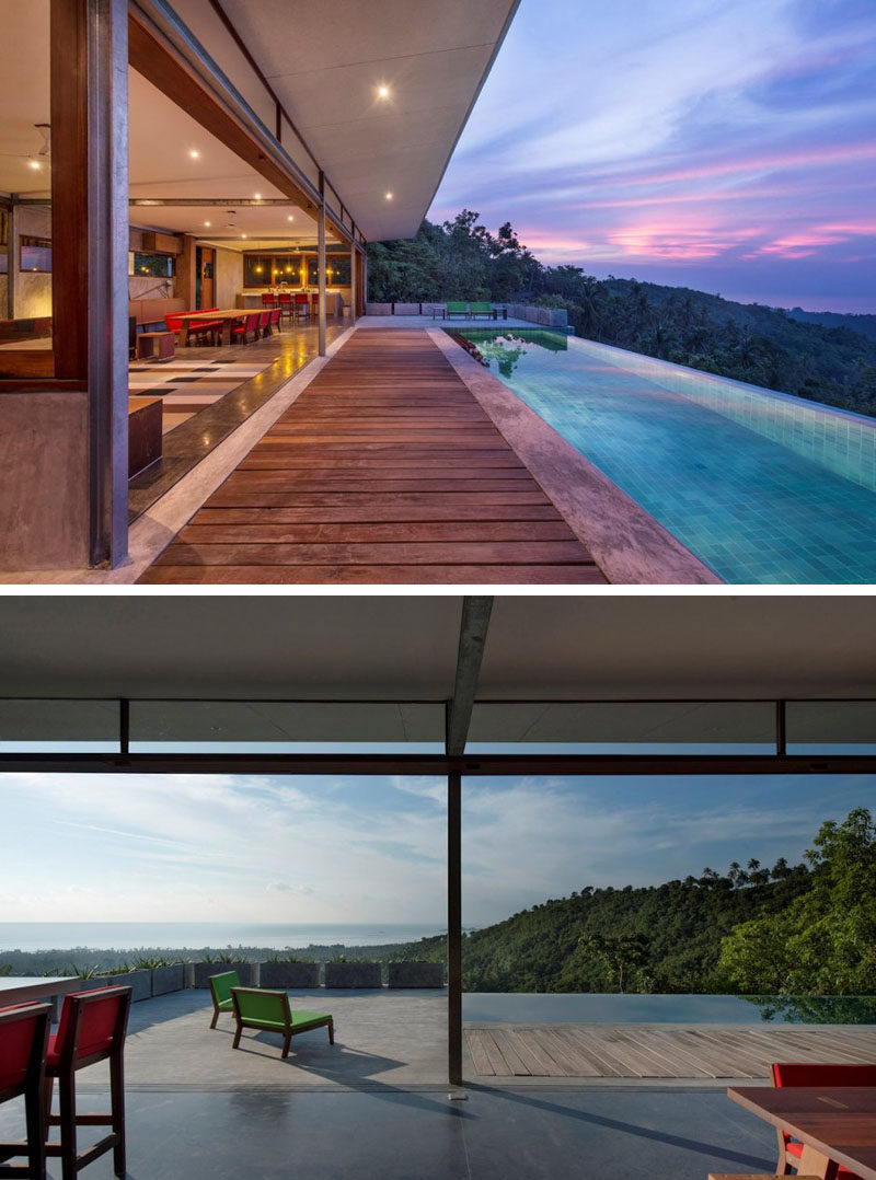 This home opens up to have amazing views of trees and ocean.