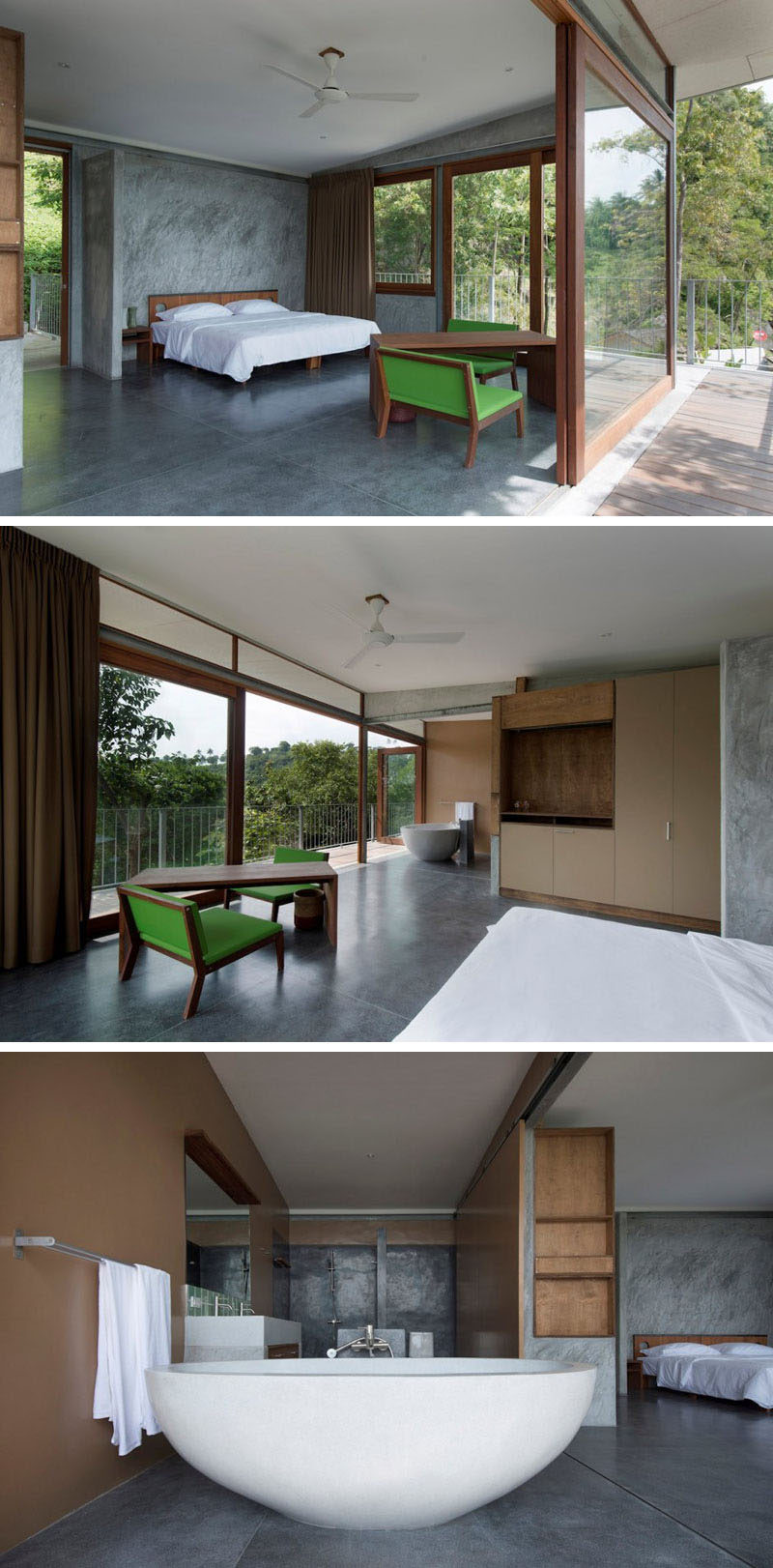 The large sliding glass doors open to allow the air to flow through this bedroom and bathroom.