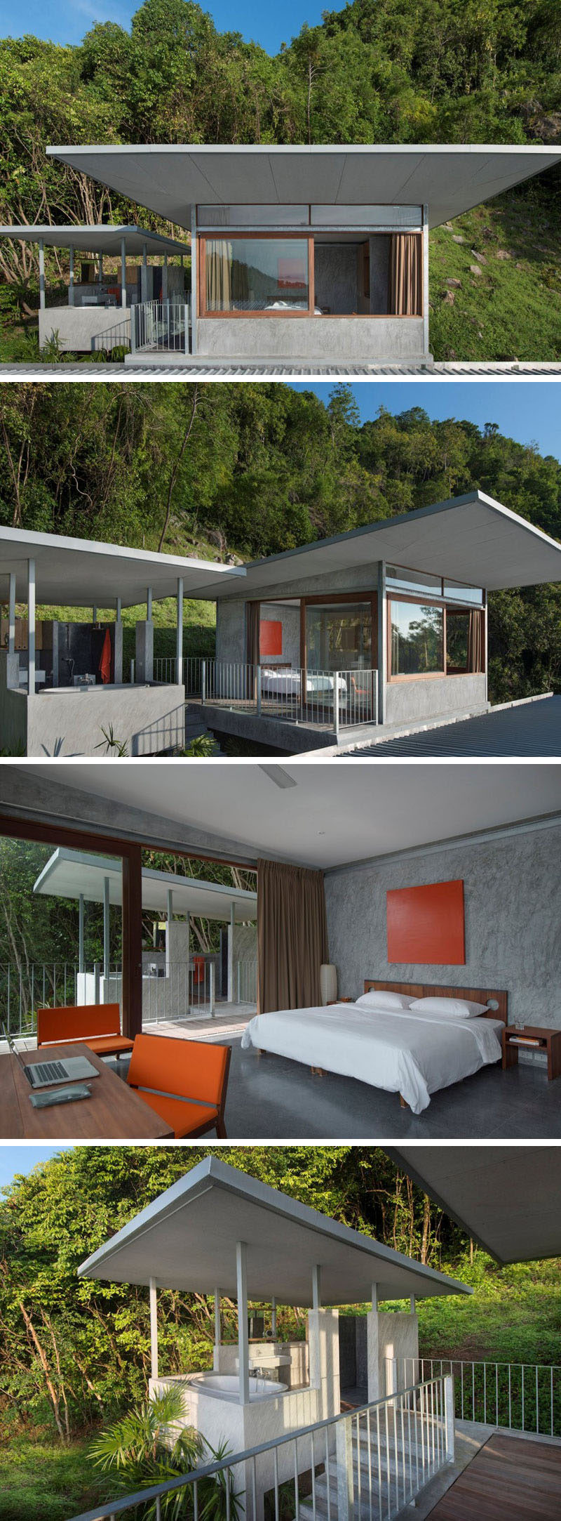 At the top of this house is a penthouse bedroom suite, that has its own outdoor bathroom pavilion.