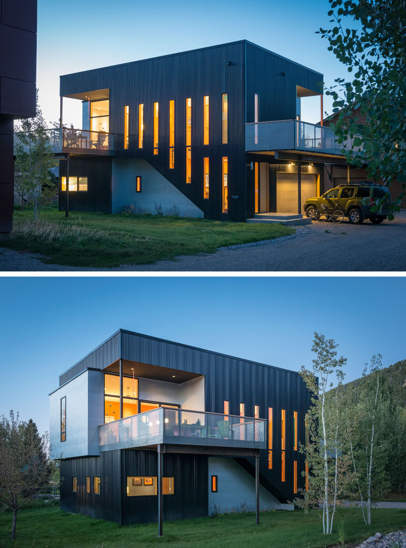 there 39 s a climbing wall on the side of this house in wyoming contemporist. Black Bedroom Furniture Sets. Home Design Ideas