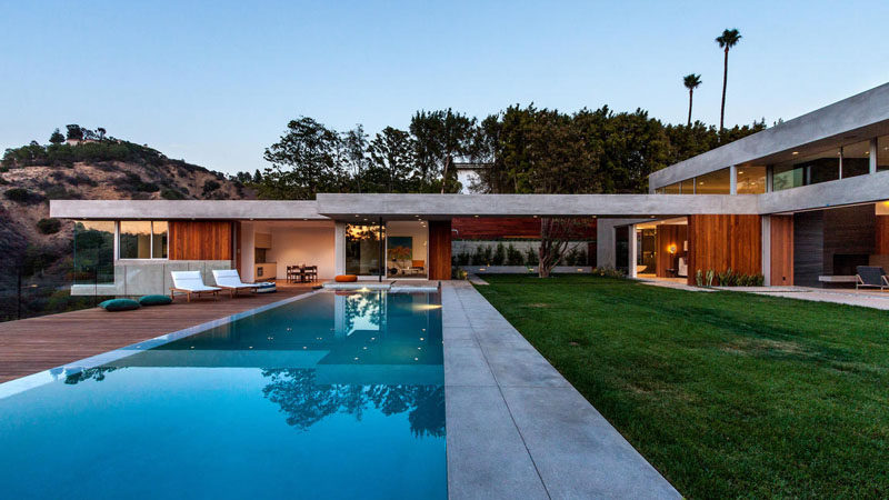 This New Concrete And Wood Home Was Built On A Steep Slope In Beverly Hills, California