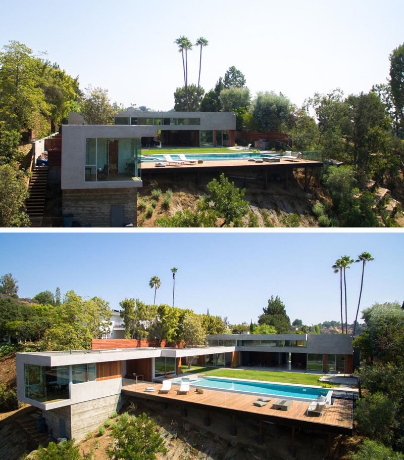 At the rear of this Californian home the site is very steep, so a platform was built to provide space for a pool deck.
