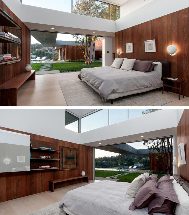 This bedroom opens up to the backyard and large clerestory windows let plenty of light in.