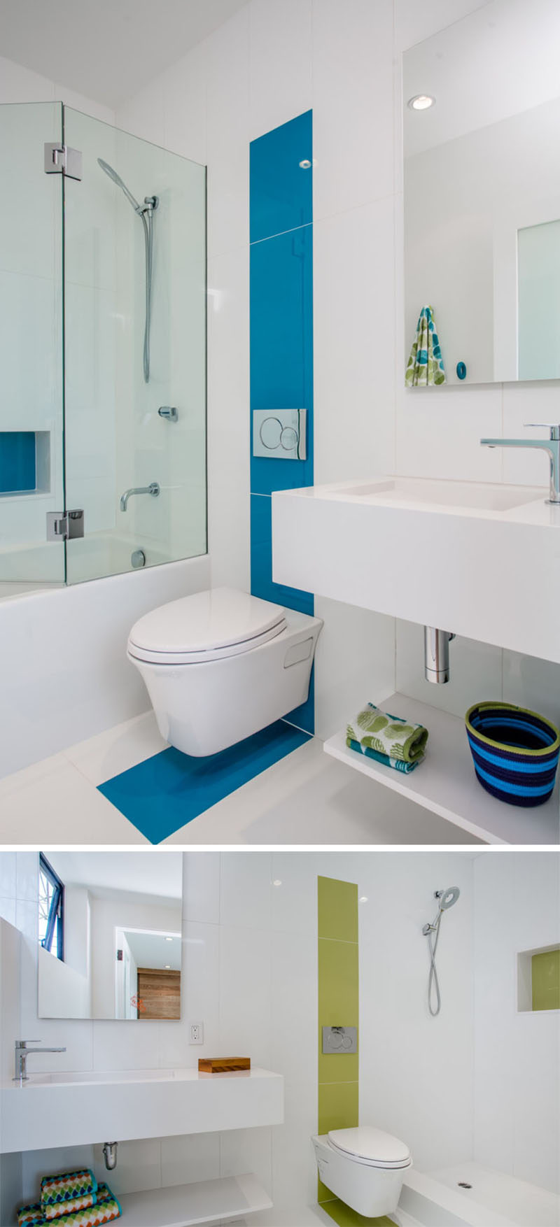 In these all-white tiled bathrooms, colorful tiles have been used to highlight an area, like the toilet and the built-in shelf in the shower.