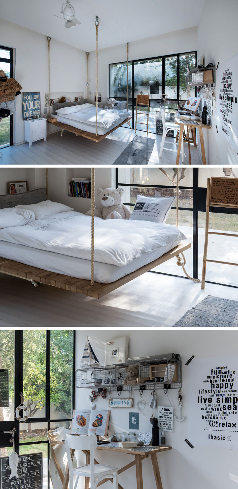 This teenager's bedrooms has a bed that is suspended from the ceiling using heavy duty rope and fixtures.