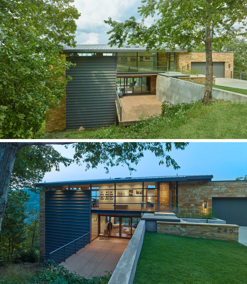 The multi-level home has used materials such as stone, steel and glass, with deliberate emphasis given to exterior views for color, and landscape for an accent.