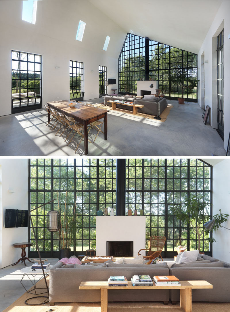 This guest house has an open floor plan, similar to that of a NYC loft. The black steel casement windows are a strong contrast to the white walls and radiant concrete flooring.