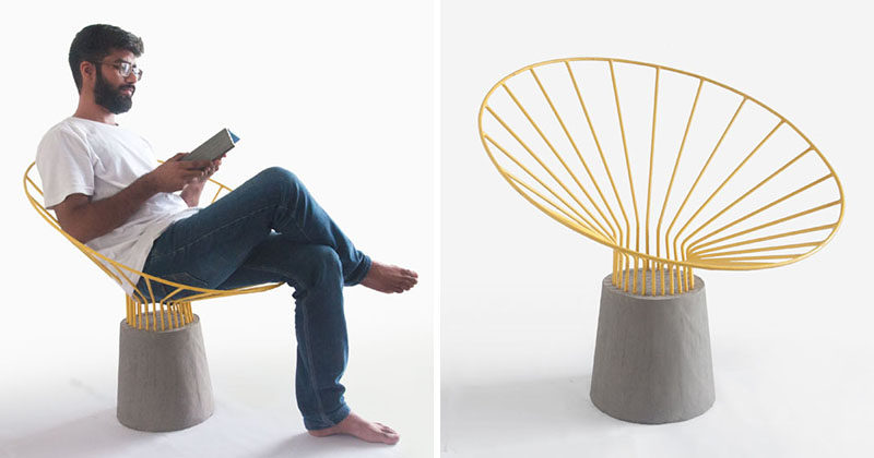 Bent steel rods have been combined with concrete to create this unique outdoor chair design