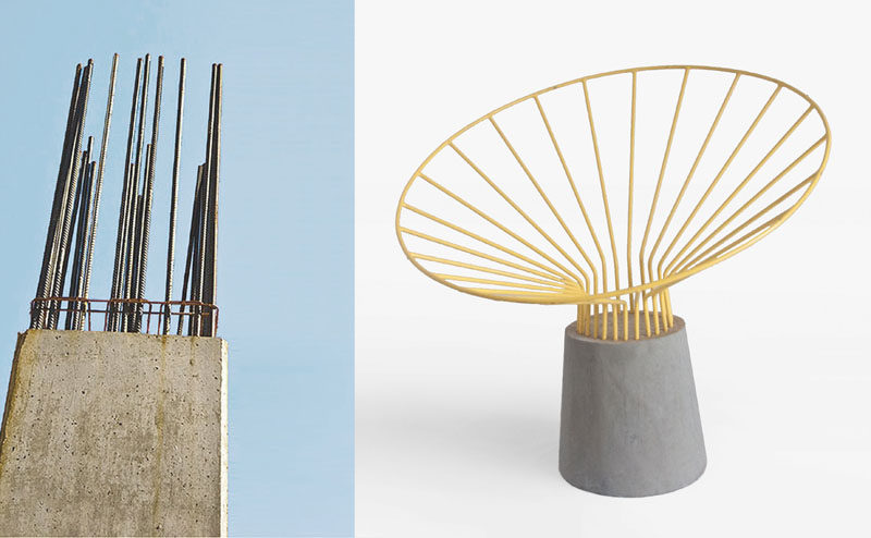Bent steel rods have been combined with concrete to create this unique outdoor chair design.