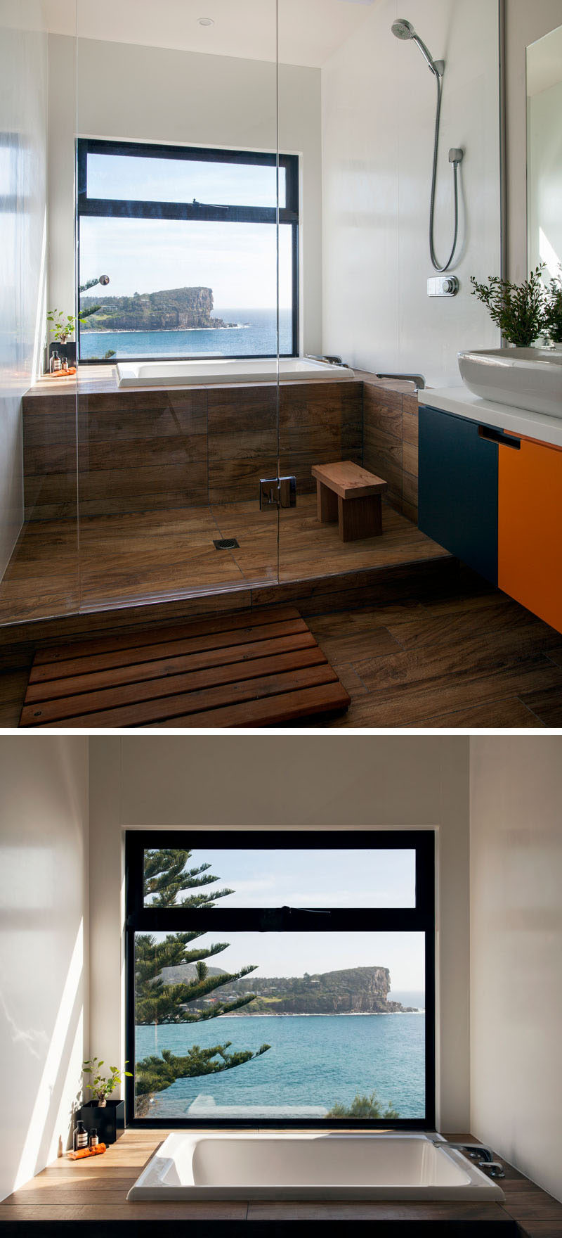 This bathroom has a large window that provides an uninterrupted view of the ocean and beach below from the bath.