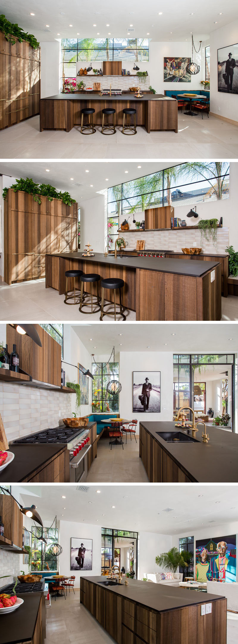 This open and airy kitchen has a small breakfast nook and an island large enough to have space for three seats. Even though the kitchen is wood, the kitchen doesn't feel closed-in due to the bright white walls and placement of the windows.