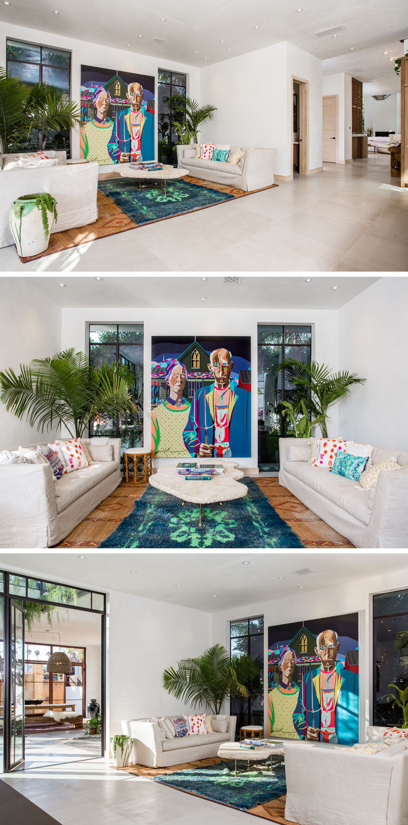 This lounge area is anchored by the large rugs on the floor and the artwork positioned between the two windows.