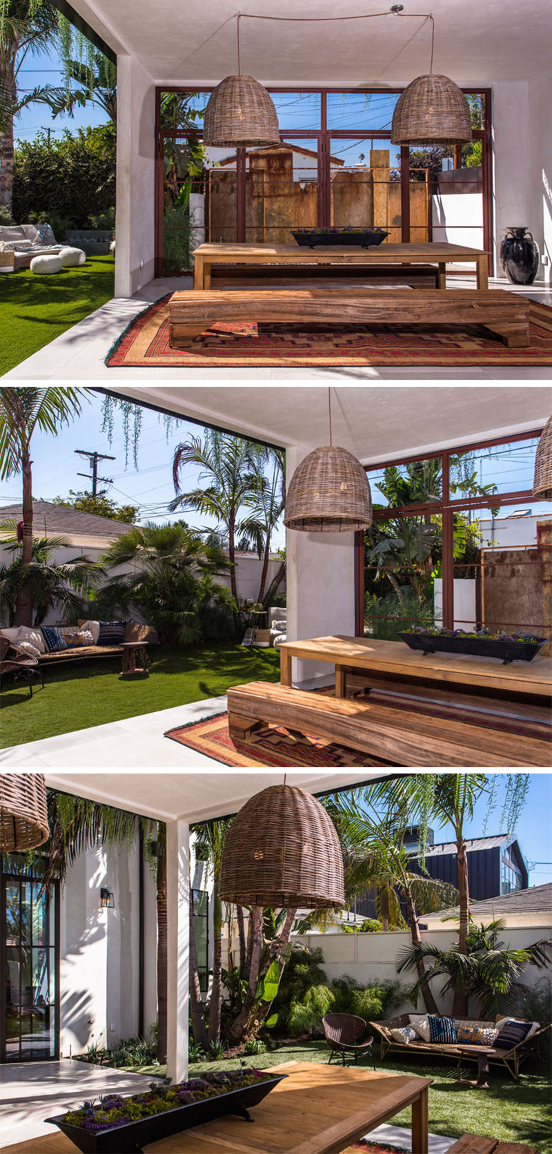 Two large pendant lights hang above a wooden dining table with benches as seats, to create a covered outdoor dining room.