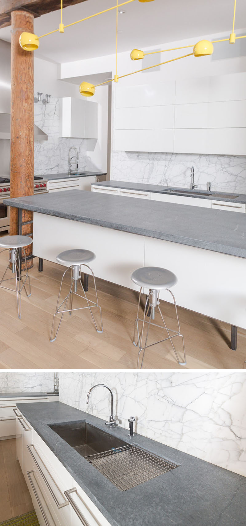 Kitchen Design Idea - 5 Unconventional Materials You Can Use For A Countertop // Soapstone -- Soapstone is known mostly for its softness, making it great for carving and other artistic applications. But soapstone comes in varying degrees of hardness, and the hardest kind is durable enough to be used as countertop material. Soapstone is a natural stone that's nonporous which makes each piece unique and stain resistant.