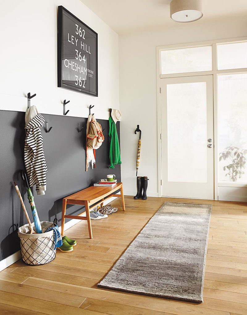Interior Design Idea - What To Include When Creating The Ultimate Entryway // Hanging Space -- Use hooks, hangers, or racks to keep your outer wear together at the front door in an organized and stylish way.