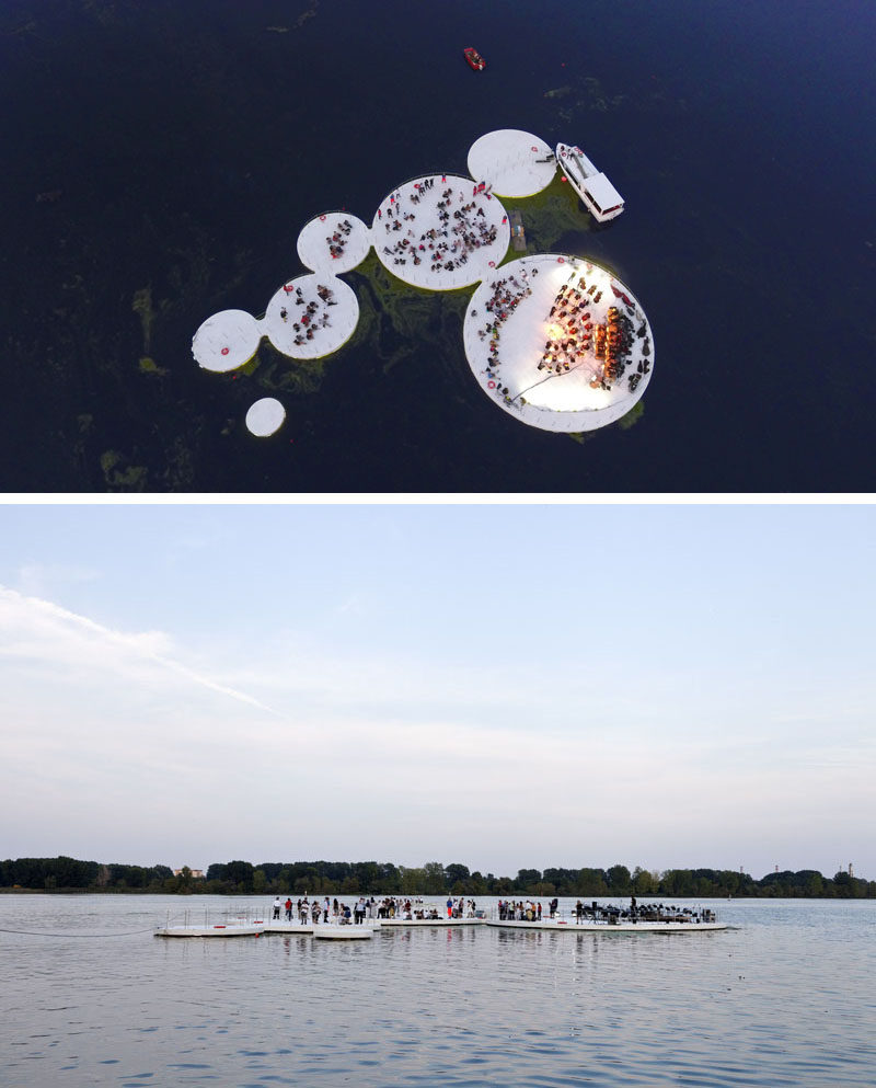 Floating islands, inspired by the lotus plant, have become a performance space on a lake in Italy.