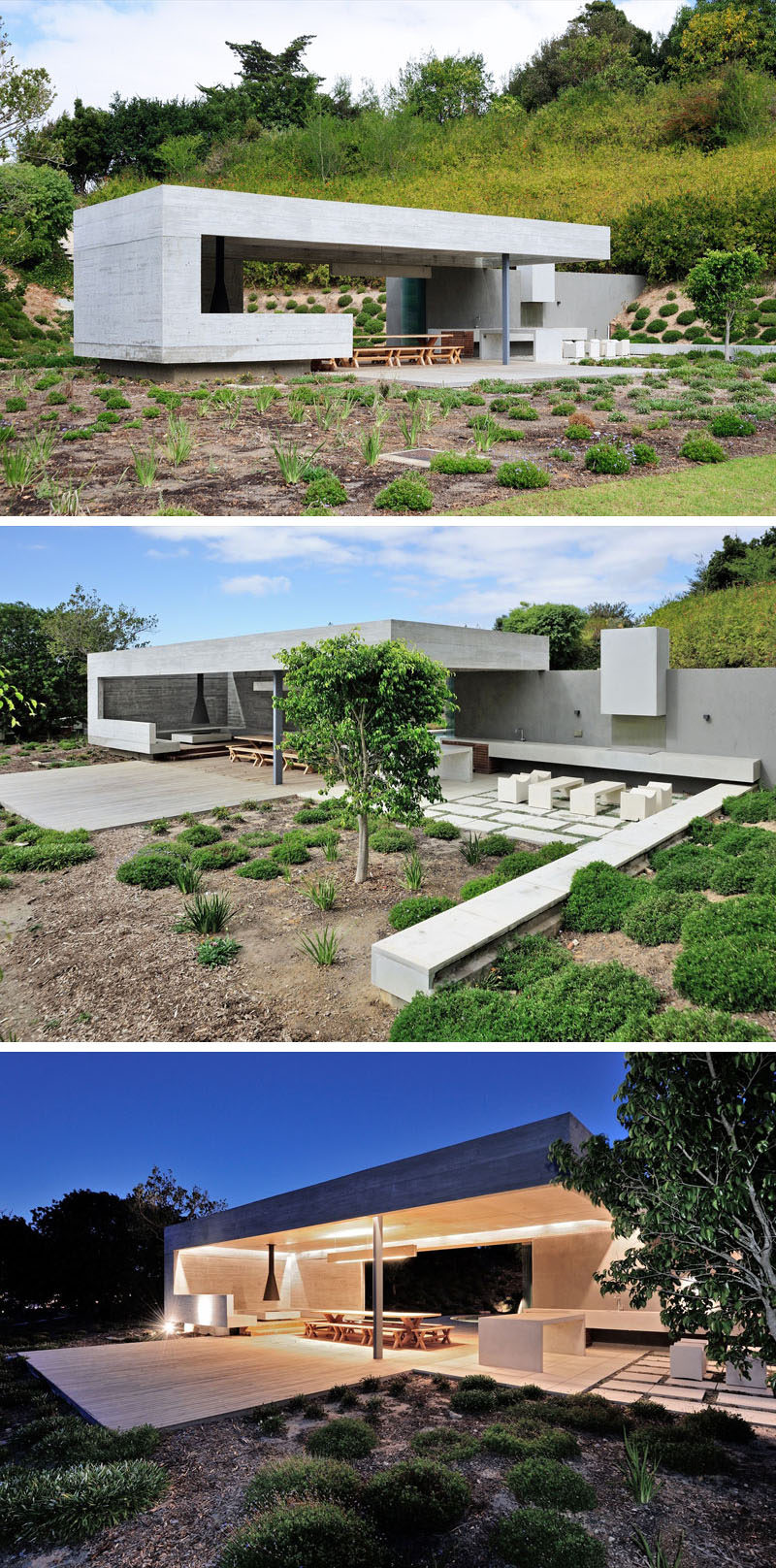 this concrete garden pavilion was designed with multiple areas for