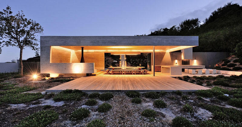 This Concrete Garden Pavilion Was Designed With Multiple Areas For Entertaining