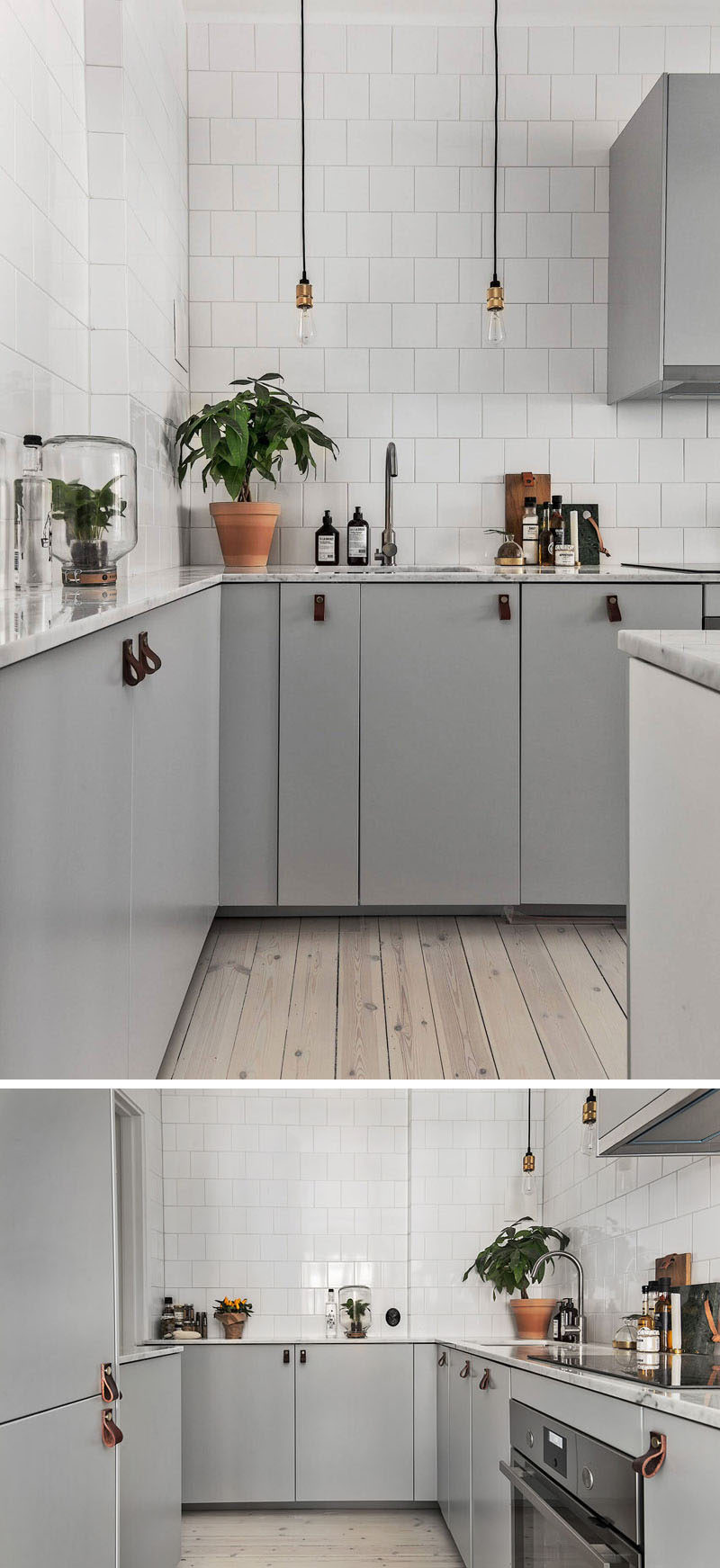 12 Examples Of Sophisticated Gray Kitchen Cabinets // Minimalist, gray cabinets have been paired with white tiles and leather pulls in this kitchen.