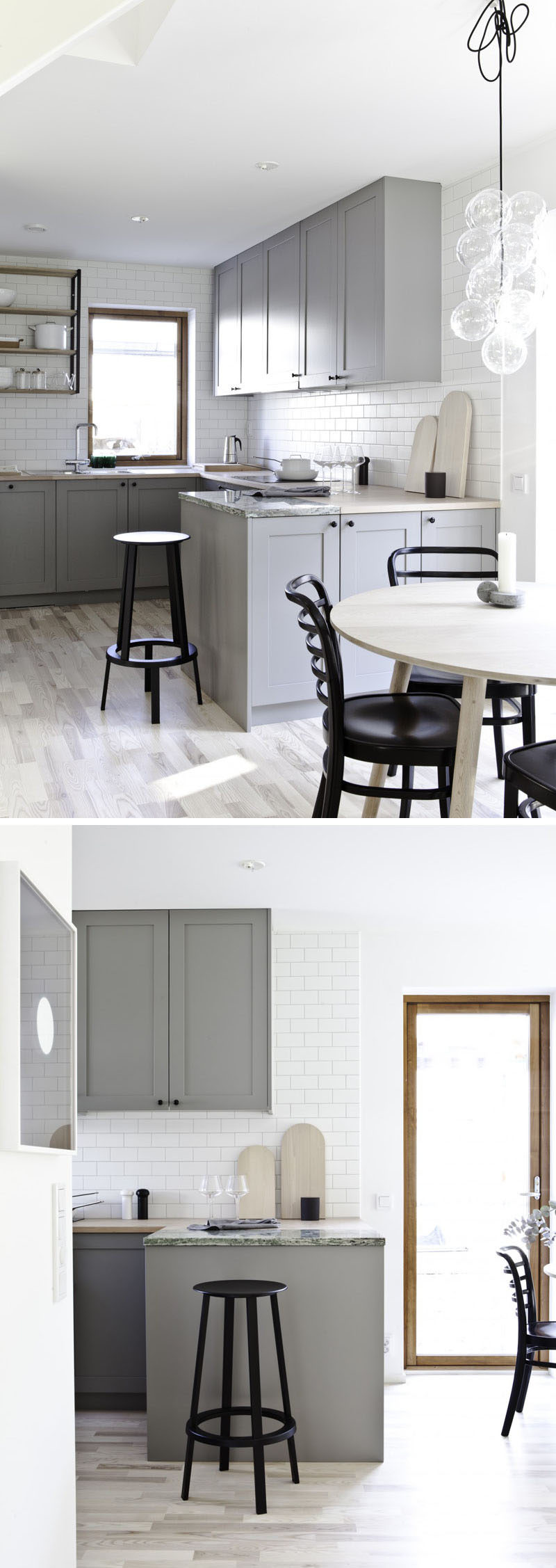 12 Examples Of Sophisticated Gray Kitchen Cabinets // The light gray cabinets, the open shelving, and the white subway tiles in this kitchen make it feel mature, bright, and modern.