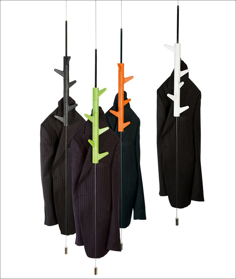 these hanging coat racks are suspended from the ceiling allowing them to sway rotate and best of all keep your floor space free