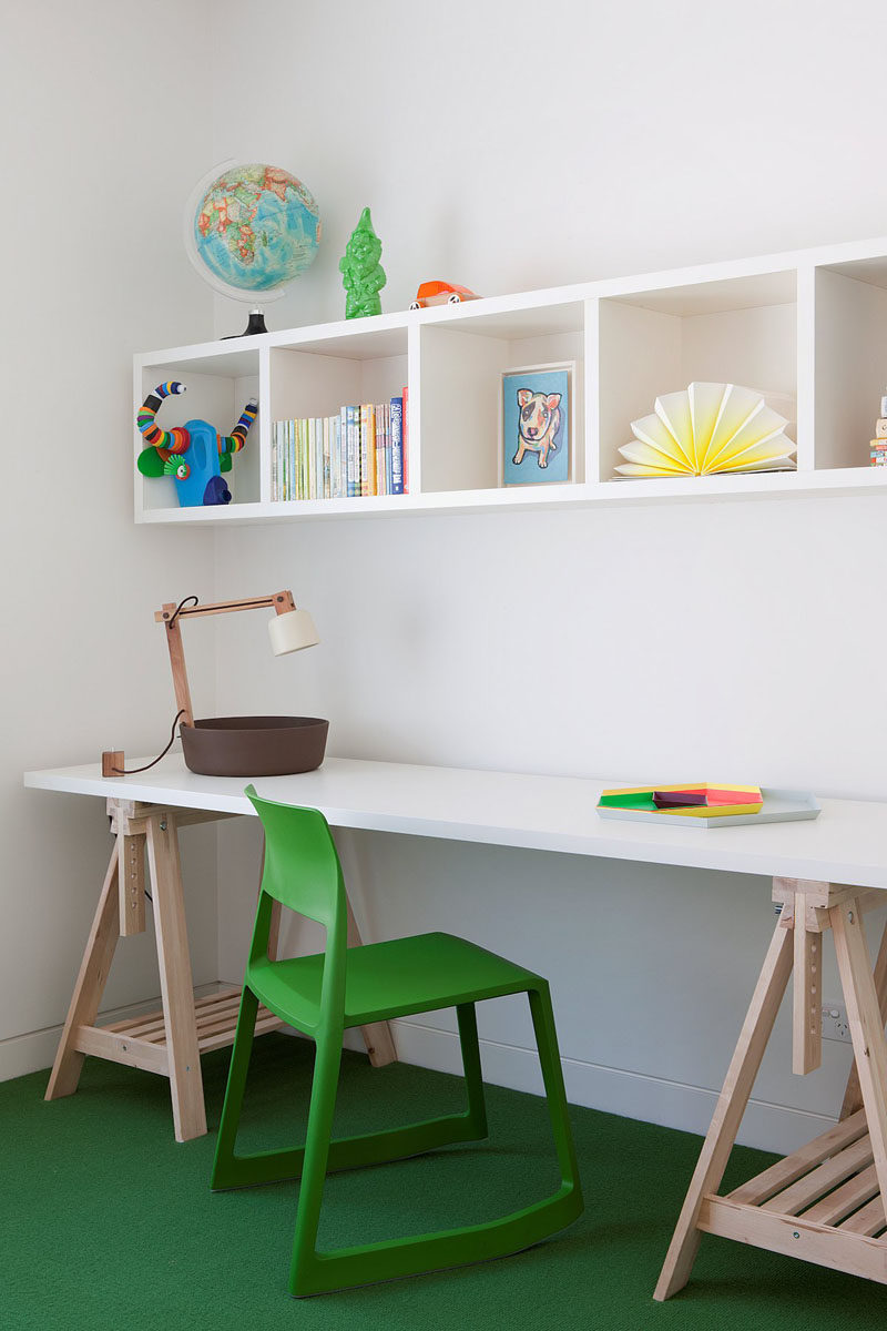 Interior Design Idea - 11 Essentials For Kids Homework Stations // Provide lots of storage space -- Having shelves, cupboards and drawers can make it easier to find things when you need them and makes it easier to stay on track with assignments.