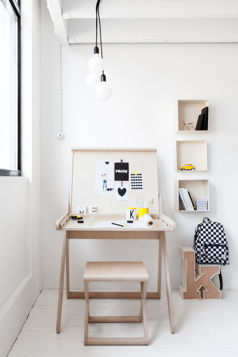 Interior Design Idea - 11 Essentials For Kids Homework Stations // Make it a multi-purpose station -- If you're tight on space and want to have both a study area and a craft area, a table with a lift top lid can be a study desk when the lid is closed and an arts area when the lid's open.
